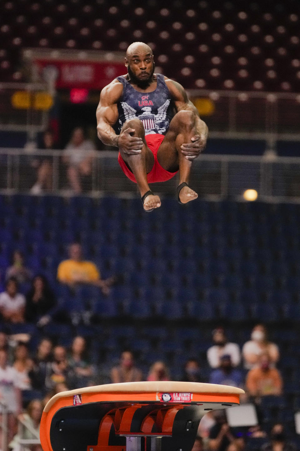 Donnell Whittenburg competes on the vault during the men's U.S. Olympic Gymnastics Trials Saturday, June 26, 2021, in St. Louis. (AP Photo/Jeff Roberson)