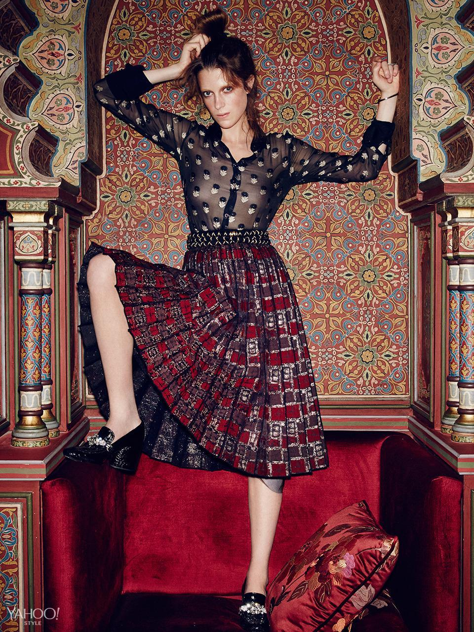 """<p>Forget everything you know about mixing prints—this is the season to pile them on. The gold embellishment on both this sheer Etro blouse and Marc Jacobs pleated skirt ties the disparate patterns and textures together. <br>Etro Sheer Black and Gold Button Up, $896,<span> etro.com</span><br>Marc Jacobs Box Jacquard Pleated Skirt, $1,400, <a href=""""http://www.marcjacobs.com/home"""" rel=""""nofollow noopener"""" target=""""_blank"""" data-ylk=""""slk:marcjacobs.com."""" class=""""link rapid-noclick-resp"""">marcjacobs.com.</a><br>New York Vintage Wrap Belt, Price Upon Request,<a href=""""http://newyorkvintage.com/"""" rel=""""nofollow noopener"""" target=""""_blank"""" data-ylk=""""slk:newyorkvintage.com"""" class=""""link rapid-noclick-resp""""> newyorkvintage.com</a><br>Marc Jacobs Embossed Croc Loafer, $2,150, <a href=""""http://www.marcjacobs.com/home"""" rel=""""nofollow noopener"""" target=""""_blank"""" data-ylk=""""slk:marcjacobs.com"""" class=""""link rapid-noclick-resp"""">marcjacobs.com</a><br>New York Vintage Rings, Price Upon Request, <a href=""""http://newyorkvintage.com/"""" rel=""""nofollow noopener"""" target=""""_blank"""" data-ylk=""""slk:newyorkvintage.com"""" class=""""link rapid-noclick-resp"""">newyorkvintage.com</a><br>Location: <a href=""""http://www.palaisfaraj.com/NS/"""" rel=""""nofollow noopener"""" target=""""_blank"""" data-ylk=""""slk:Palais Faraj Suites & Spa"""" class=""""link rapid-noclick-resp"""">Palais Faraj Suites & Spa</a></p>"""