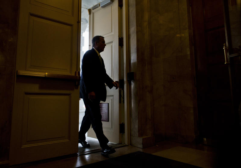 <p> House Speaker John Boehner of Ohio arrives on Capitol Hill in Washington, Friday, Oct. 11, 2013. President Barack Obama and Republicans in the House of Representatives are exploring whether they can end a budget standoff that has triggered a partial government shutdown and put Washington on the verge of an economy-jarring federal default. (AP Photo/ Evan Vucci)