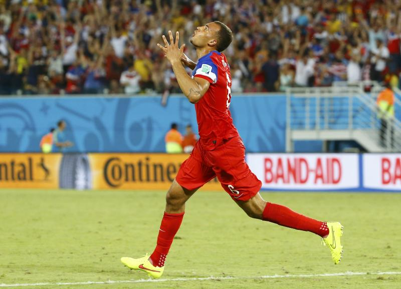 John Brooks of the U.S. celebrates his goal against Ghana during their 2014 World Cup Group G soccer match at the Dunas arena in Natal