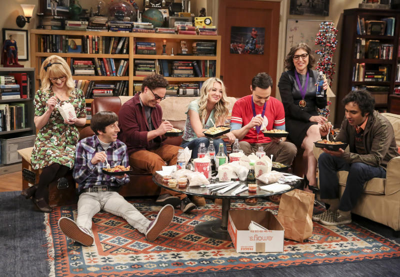 "This photo provided by CBS shows Melissa Rauch, from left, Simon Helberg, Johnny Galecki, Kaley Cuoco, Jim Parsons, Mayim Bialik and Kunal Nayyar in a scene from the series finale of ""The Big Bang Theory."" ""Game of Thrones,"" ""Veep"" and ""The Big Bang Theory,"" three major series that wrapped last season, will find out with Tuesday's nominations if they have one more chance at Emmy gold. (Michael Yarish/CBS via AP)"