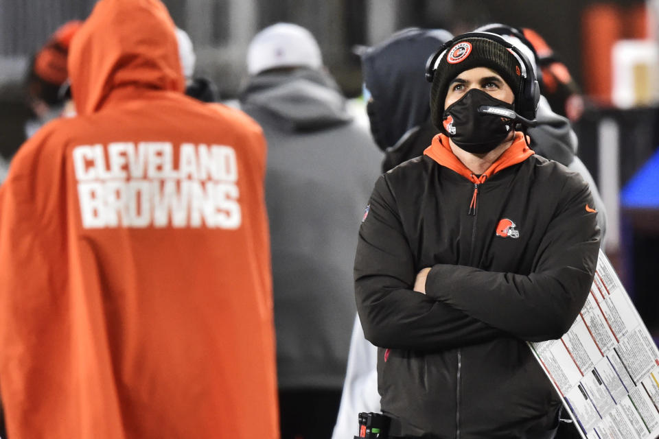 Cleveland Browns head coach Kevin Stefanski watches late during the second half of an NFL football game against the Baltimore Ravens, Monday, Dec. 14, 2020, in Cleveland. The Ravens won 47-42. (AP Photo/David Richard)