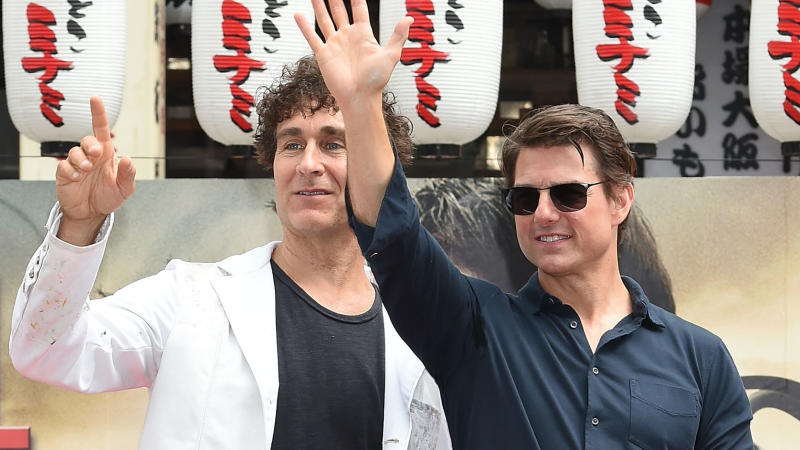 Doug Liman and Tom Cruise attend a promotional event for 'Edge of Tomorrow' on June 26, 2014 in Osaka, Japan. (Photo by Jun Sato/WireImage)