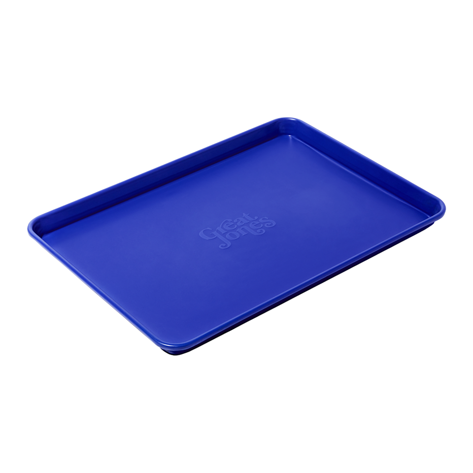 """If the recipe hasn't changed but her cookies taste…<em>different</em>, she could probably use a new baking sheet. Enter the Holy Sheet. It has a safe, nonstick ceramic coating that helps distribute heat evenly and is super easy to clean up. $35, Great Jones. <a href=""""https://greatjonesgoods.com/products/holy-sheet"""" rel=""""nofollow noopener"""" target=""""_blank"""" data-ylk=""""slk:Get it now!"""" class=""""link rapid-noclick-resp"""">Get it now!</a>"""