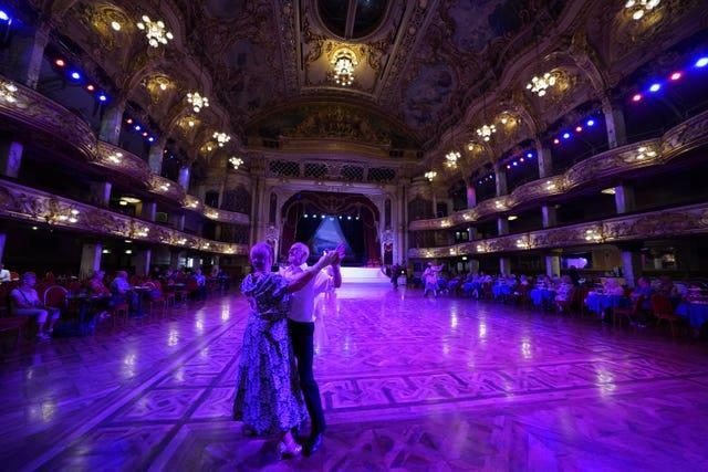 A couple dancing in the Blackpool Tower Ballroom