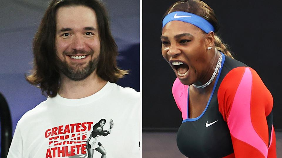 Alexis Ohanian, husband of world no.11 Serena Williams, ripped into one of her critics after her dominant quarter final victory over Simona Halpe at the Australian Open. Pictures: Getty Images