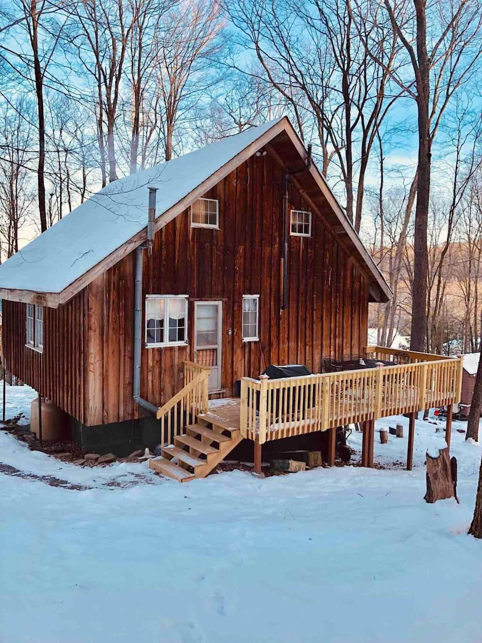 """<h2>Pocono Mountain, Pennsylvania</h2><br><strong>Location: </strong>Greentown, Pennsylvania<br><strong>Sleeps: </strong>6<br><strong>Price Per Night:</strong> <a href=""""http://airbnb.pvxt.net/qnne5O"""" rel=""""nofollow noopener"""" target=""""_blank"""" data-ylk=""""slk:$205"""" class=""""link rapid-noclick-resp"""">$205</a><br><br>""""There is a fireplace, a fire pit, three decks, and plenty of outdoor space. The whole cottage has been updated and the cedar wood floors just refinished. A very unique floor to say the least, please see the pictures!! There is a gas grill and picnic table on the back porch. The two front porches have seating areas. Transient boat slips are available right across the street at Light House Marina as well as rentals for every kind of water sport. There is a public beach a short drive north on Rt 507. Not in a community with a bunch of ridiculous rules!!!"""" <br><br><h3>Book <a href=""""http://airbnb.pvxt.net/qnne5O"""" rel=""""nofollow noopener"""" target=""""_blank"""" data-ylk=""""slk:Pocono Mountain Escape Authentic Lakeside Cottage"""" class=""""link rapid-noclick-resp"""">Pocono Mountain Escape Authentic Lakeside Cottage</a><br></h3>"""