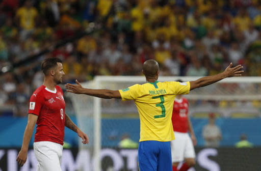 Brazil's Miranda, right, gestures during the group E match between Brazil and Switzerland at the 2018 soccer World Cup in the Rostov Arena in Rostov-on-Don, Russia, Sunday, June 17, 2018. (AP Photo/Darko Vojinovic)