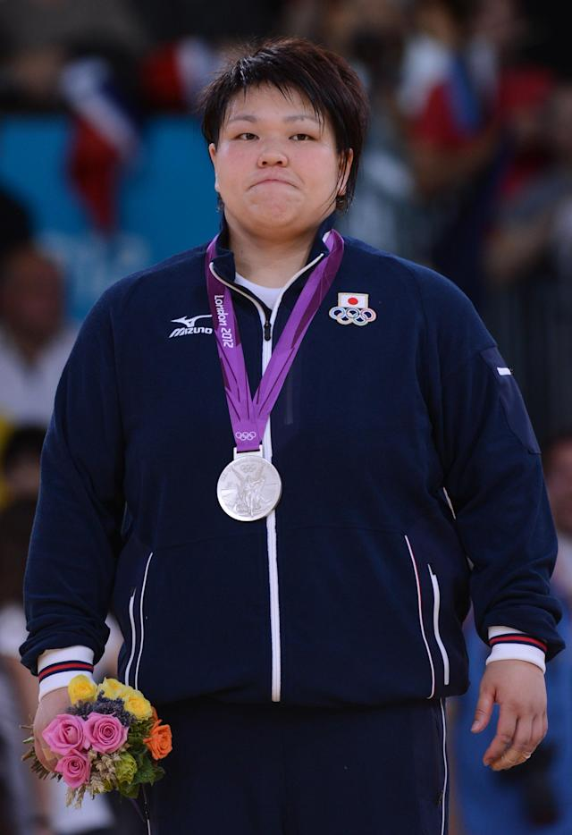Silver medalist Japan's Mika Sugimoto poses on the podium of the women's +78kg judo contest of the London 2012 Olympic Games on August 3, 2012 at the ExCel arena in London. AFP PHOTO / EMMANUEL DUNANDEMMANUEL DUNAND/AFP/GettyImages