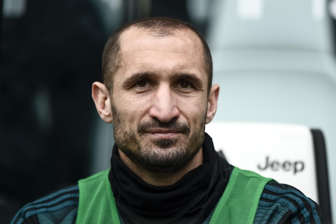 ALLIANZ STADIUM, TURIN, ITALY - 2020/02/16: Giorgio Chiellini looks on prior to the Serie A football match between Juventus FC and Brescia Calcio. Juventus FC won 2-0 over Brescia Calcio. (Photo by Nicolò Campo/LightRocket via Getty Images)