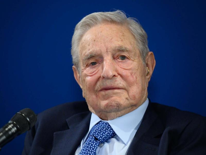 Hungarian-born US investor and philanthropist George Soros delivers a speech on the sidelines of the World Economic Forum (WEF) annual meeting, on January 23, 2020 in Davos: AFP via Getty Images