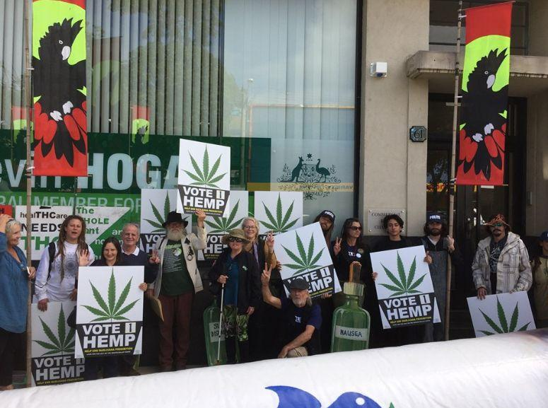 HEMP supporters in Lismore prior to the federal election. Source: Facebok/ HEMP