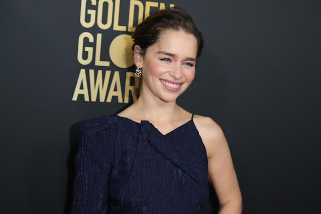 Emilia Clarke attends HFPA And THR Golden Globe Ambassador Party at Catch LA on November 14, 2019 in West Hollywood, California. (Photo by Leon Bennett/WireImage)