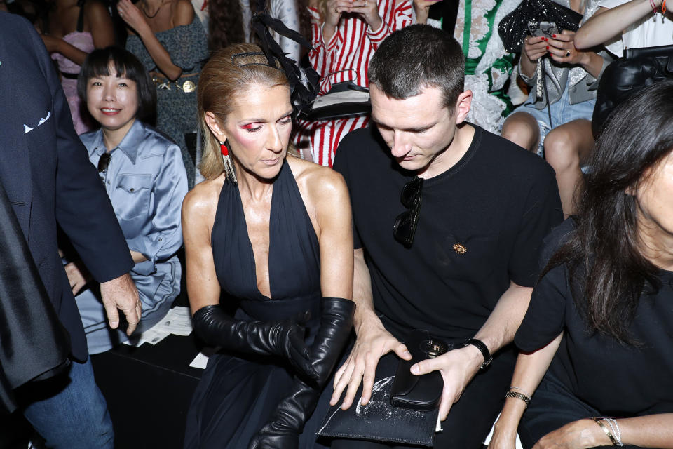 PARIS, FRANCE - JULY 01: Celine Dion and Pepe Munoz attend the Schiaparelli Haute Couture Fall/Winter 2019 2020 show as part of Paris Fashion Week on July 01, 2019 in Paris, France. (Photo by Bertrand Rindoff Petroff/Getty Images)