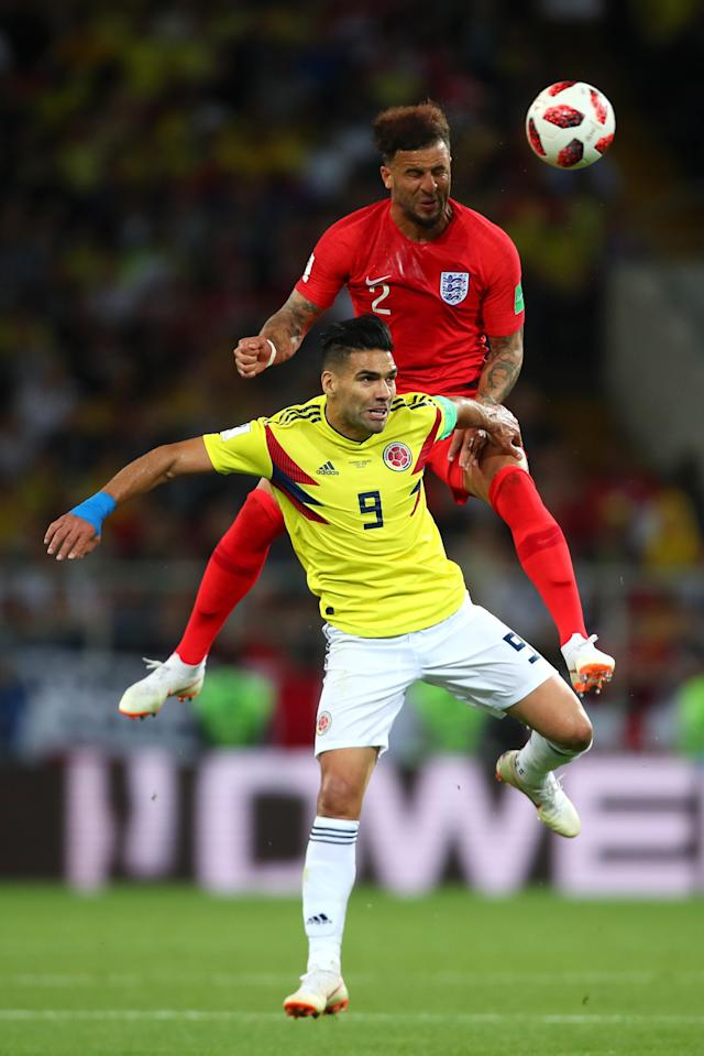 <p>Kyle Walker of England competes with Radamel Falcao of Colombia during the 2018 FIFA World Cup Russia Round of 16 match between Colombia and England at Spartak Stadium on July 3, 2018 in Moscow, Russia. (Photo by Robbie Jay Barratt – AMA/Getty Images) </p>