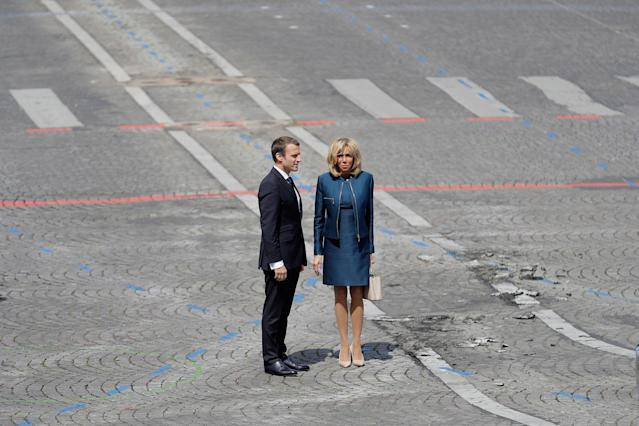 <p>French President Emmanuel Macron and his wife Brigitte watch President Donald Trump and First Lady Melania leaving after the Bastille Day parade in Paris, Friday, July 14, 2017. (Photo: Markus Schreiber/AP) </p>