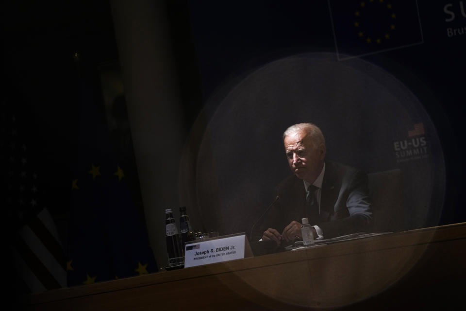 FILE - In this Tuesday, June 15, 2021 file photo, U.S. President Joe Biden listens to comments during the EU-US summit at the European Council building in Brussels. When U.S. President Joe Biden took office early this year, Western allies were falling over themselves to welcome and praise him and hail a new era in trans-Atlantic cooperation. The collapse of Kabul certainly put a stop to that. Even some of his biggest fans are now churning out criticism. (AP Photo/Francisco Seco, File)