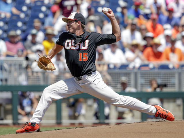 Luke Heimlich will pitch in Game 1 of the College World Series for Oregon State. (AP Photo/Nati Harnik)