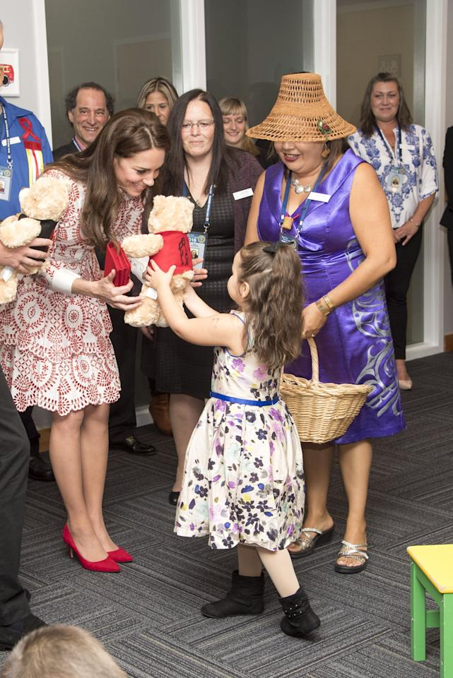 <p>Kate was presented with teddy bears by a sweet little girl in Canada in September 2016.</p>