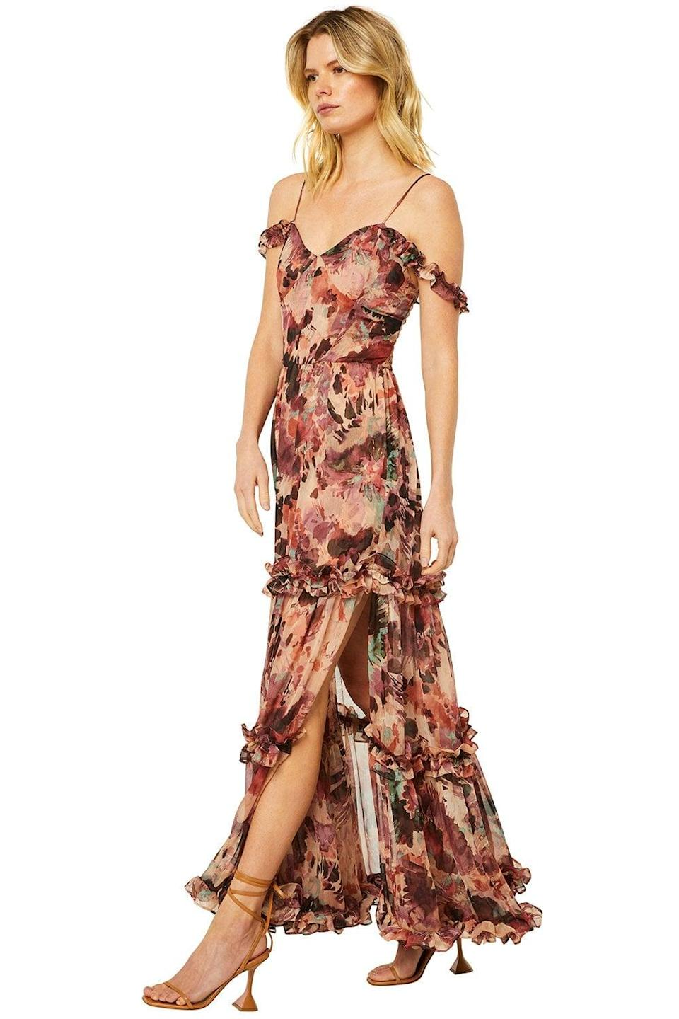 <p>Everyone will ask where you got this gorgeous <span>Misa Avery Dress</span> ($490). It's a gorgeous option for fall weddings.</p>
