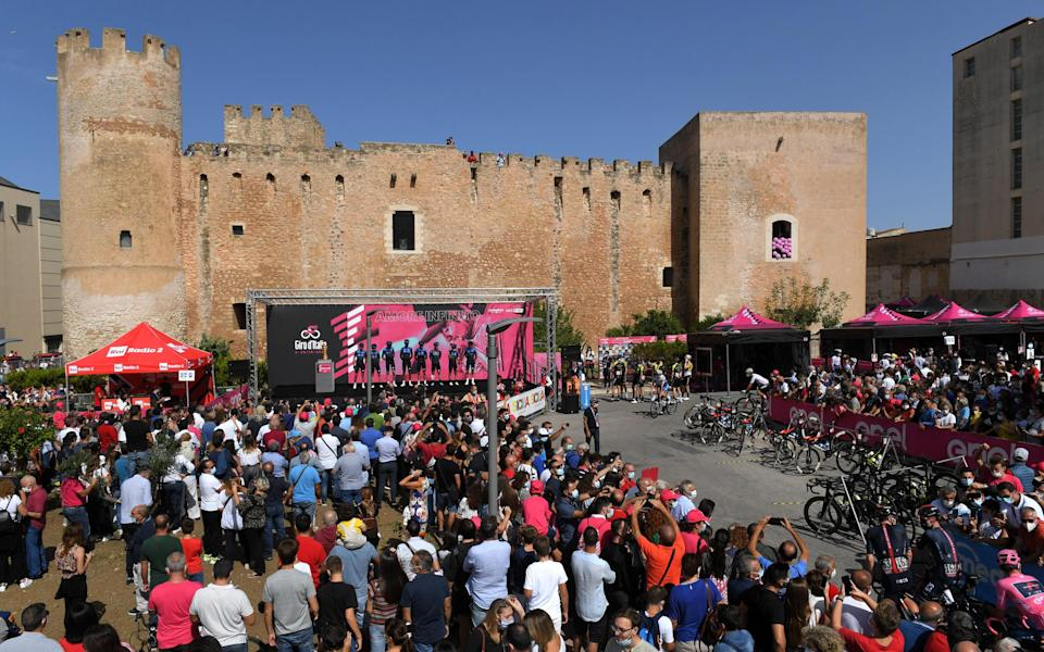 Spectators gather for the the second stage of Giro d'Italia 2020 in Agrigento, Italy - Getty