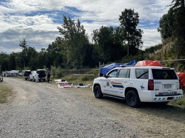 RCMP are investigating a shooting in a homeless encampment in Prince George, B.C.  (Andrew Kurjata/CBC - image credit)