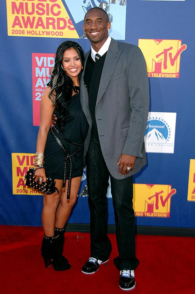 """Worst: Kobe Bryant looked dapper despite his shiny shoes, but wife Vanessa's beaded boots and accessories were a fashion foul. Steve Granitz/<a href=""""http://www.wireimage.com"""" target=""""new"""">WireImage.com</a> - September 7, 2008"""