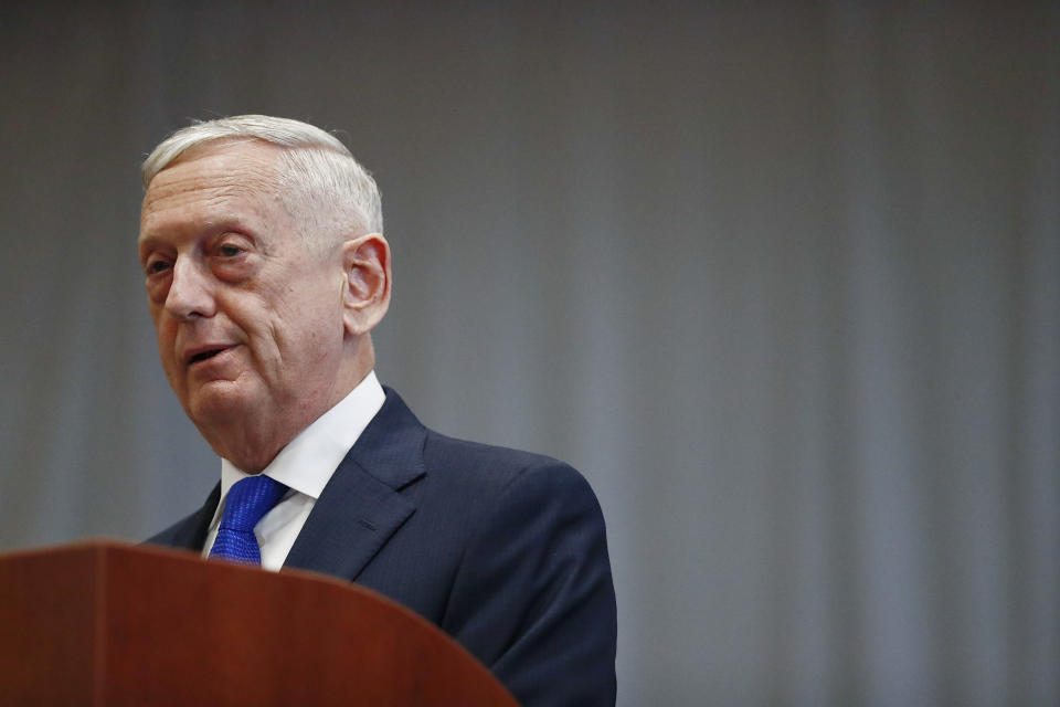 FILE - U.S. Secretary of Defense James Mattis speaks during a change of command ceremony at the n U.S. Southern Command headquarters on Monday, Nov. 26, 2018, in Doral, Fla. Former U.S. Secretary of Defense Mattis testified Wednesday, Sept. 22, 2021, in the trial of fallen tech star Elizabeth Holmes, saying the entrepreneur misled him into believing she was on the verge of rolling out a blood-testing breakthrough that he hoped would help save lives of troops in battle. (AP Photo/Brynn Anderson, File)