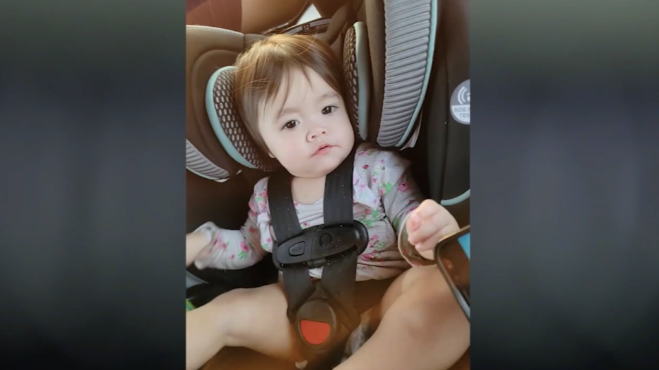 Isabella Garcia pictured in a car seat.