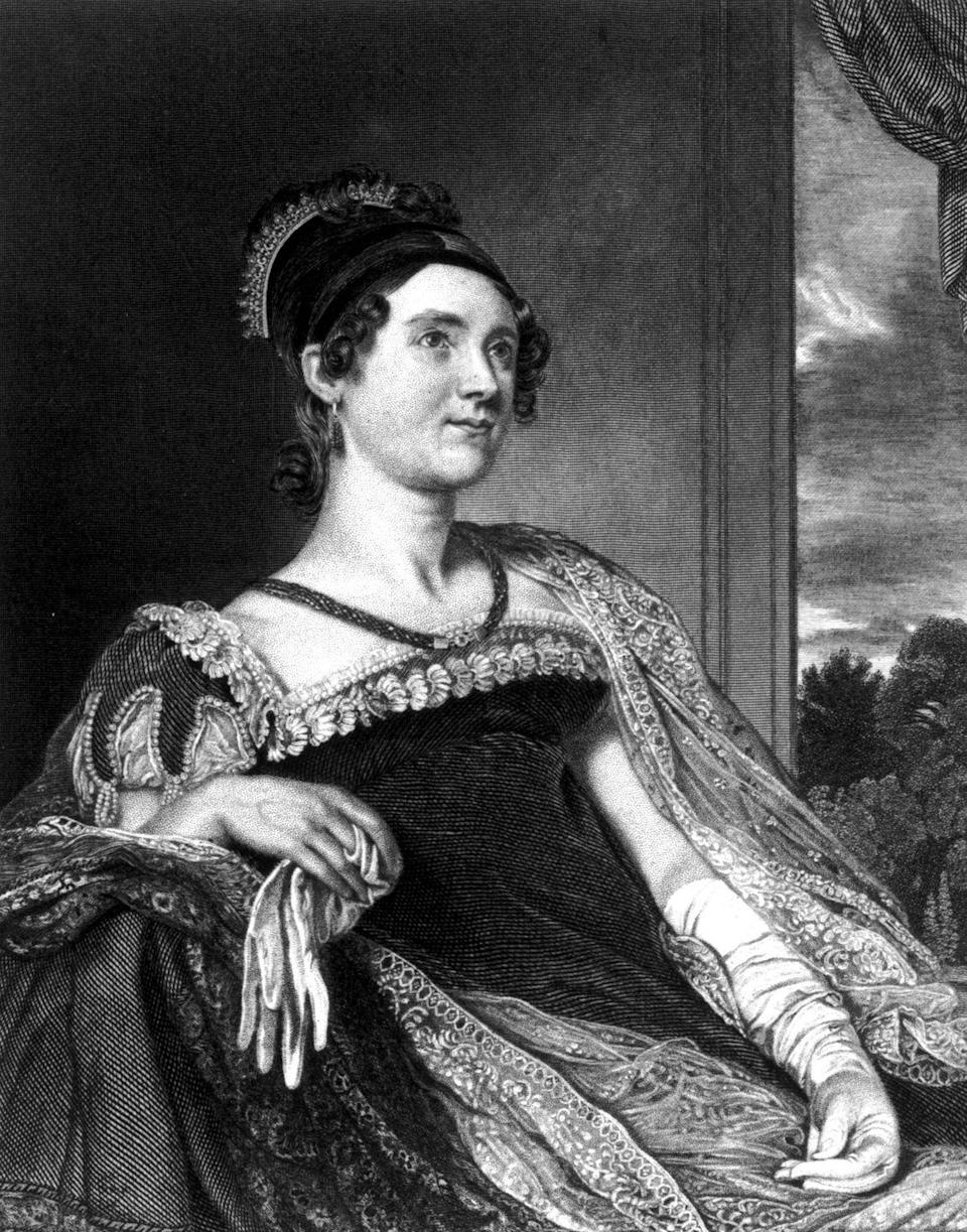 "<p>Louisa Catherine Adams didn't like to follow society rules, and is said to be the first first lady to wear makeup, using homemade face powder and lipstick against her husband's wishes. She often was forced to wear dark dresses that contrasted with her pale skin, making her want to use the makeup so <a href=""https://www.thecut.com/2016/04/louisa-adams-makeup-john-adams.html"" rel=""nofollow noopener"" target=""_blank"" data-ylk=""slk:she wouldn't be"" class=""link rapid-noclick-resp"">she wouldn't be</a> ""a <em>fright</em> in the midst of the splendor.""</p>"