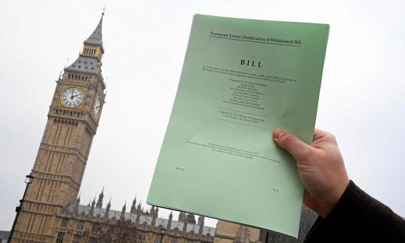 A copy of the article 50 bill, introduced by the government to seek parliamentary approval to start the process of leaving the EU.