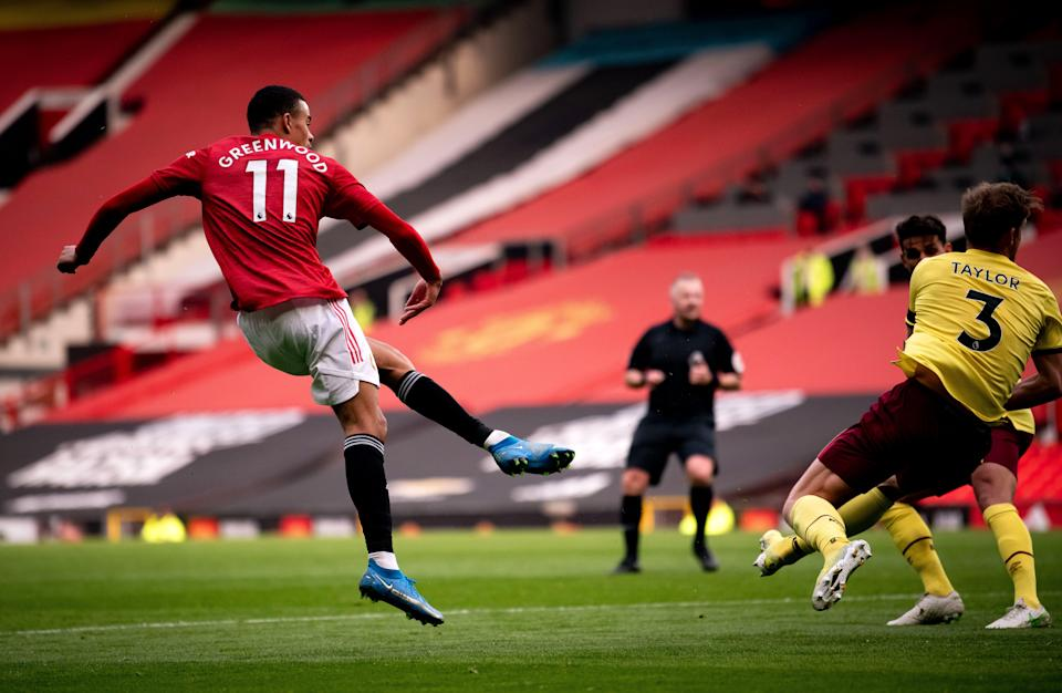 Mason Greenwood fires home United's second goal (Getty)