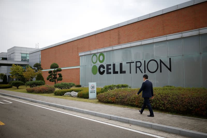The logo of Celltrion is seen at company's headquarters in Incheon