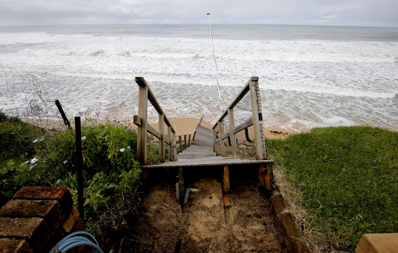 A set of fallen stairs is seen at the property of Veronica Allison at Ocean View Dr, Wamberal at Terrigal Beach, on the NSW Central Coast.