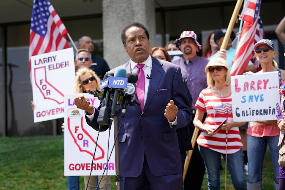 Larry Elder, who has emerged as the Republican frontunner in recent polling and fundraising for the Sept. 14 recall election of California Gov. Gavin Newsom, rallies with supporters on July 13 in Norwalk.