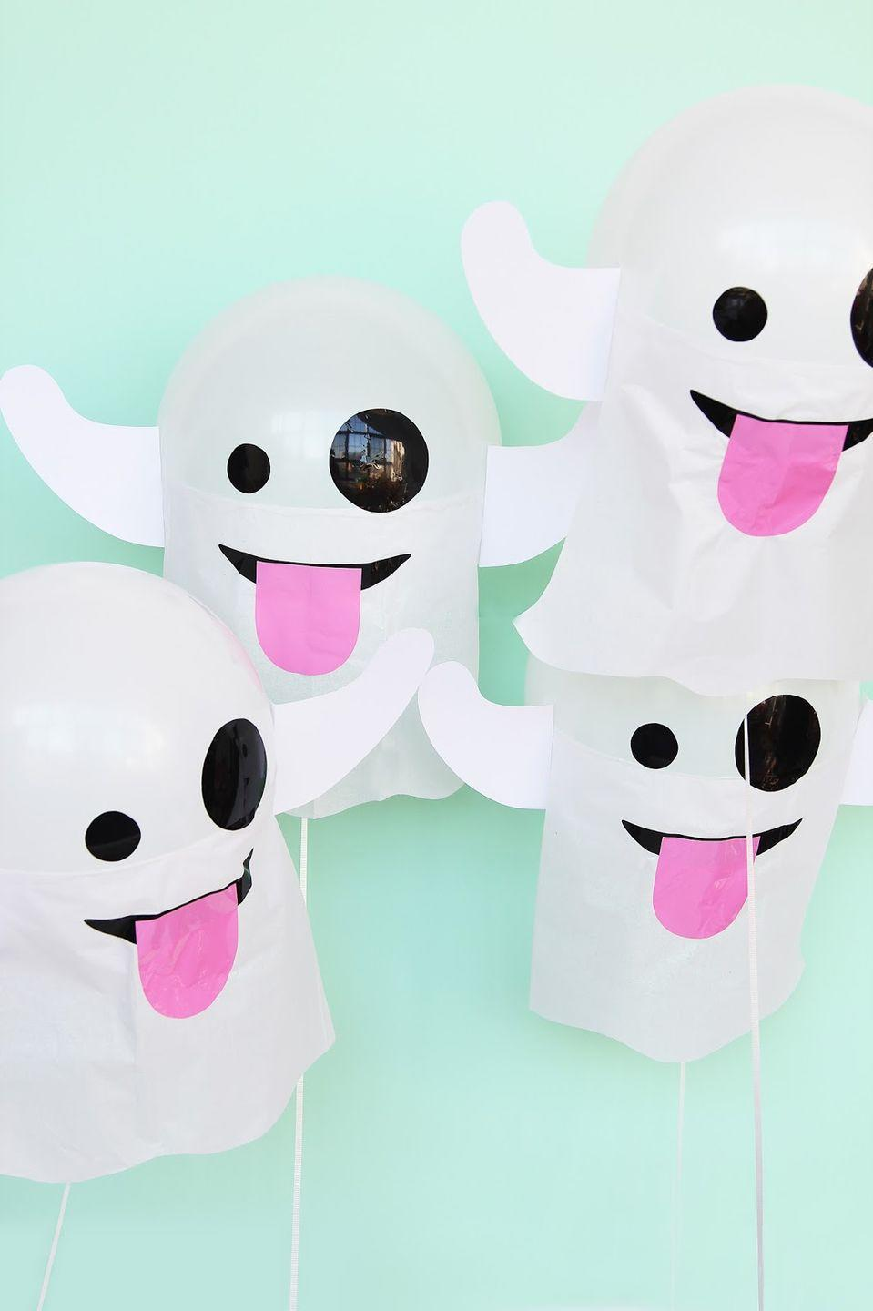 """<p>Your kids will obsess over these emoji-themed party decorations — and even more so when the sugar rush hits. </p><p><em><a href=""""http://www.awwsam.com/2015/10/diy-emoji-ghost-balloons.html"""" rel=""""nofollow noopener"""" target=""""_blank"""" data-ylk=""""slk:Get the tutorial at Aww Sam »"""" class=""""link rapid-noclick-resp"""">Get the tutorial at Aww Sam »</a></em> </p>"""