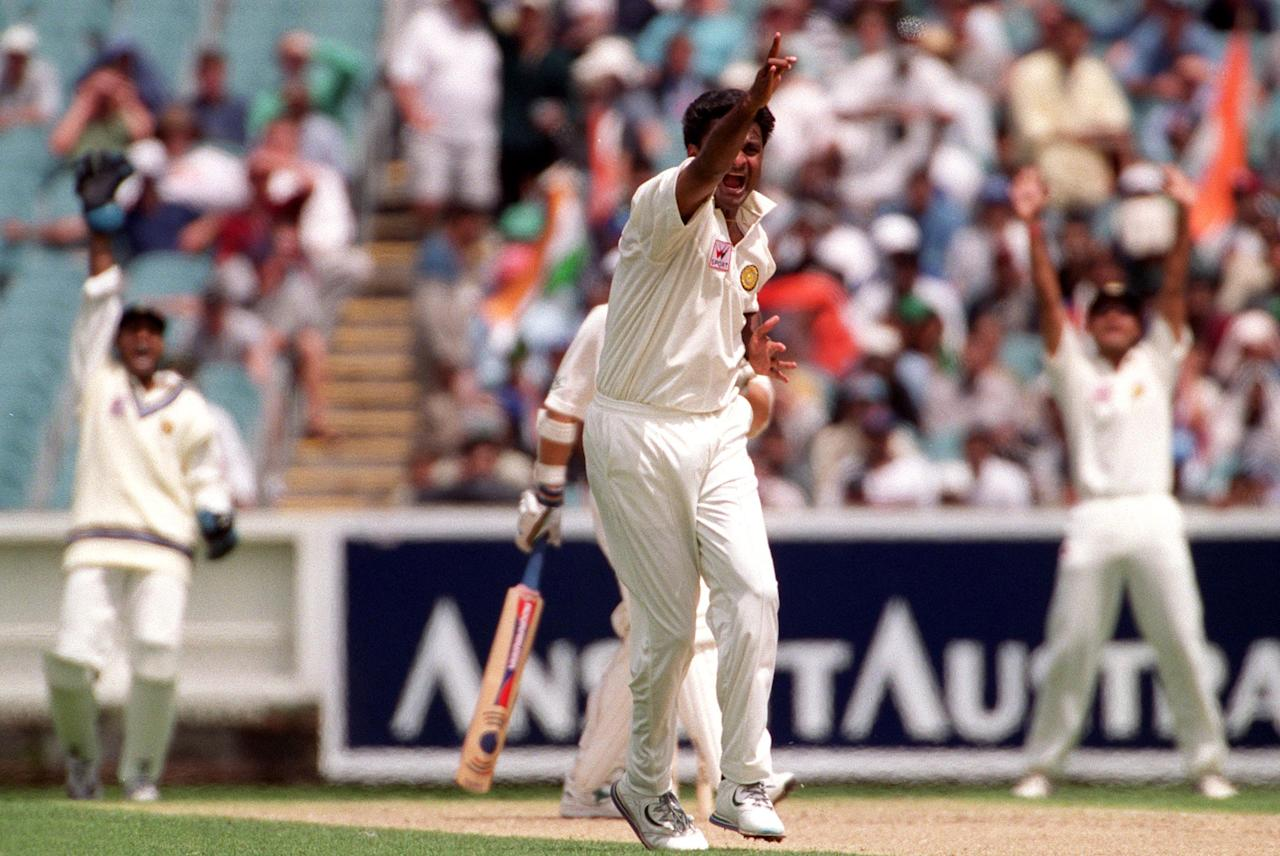 26 Dec 1999:  Javagal Srinath of India celebrates the wicket of Justin Langer of Australia, in the second test match between Australia and India, played at the Melbourne Cricket Ground, Melbourne, Australia. Srinath dismissed Langer L.B.W for 8 runs. Mandatory Credit: Jack Atley/ALLSPORT