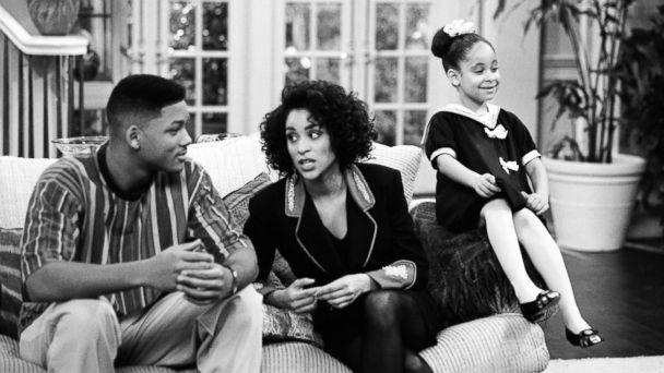 PHOTO: From the left, Will Smith as William 'Will' Smith, Karyn Parsons as Hilary Banks, Raven-Symone as Claudia in 'The Fresh Prince of Bel-Air.' (Getty Images)