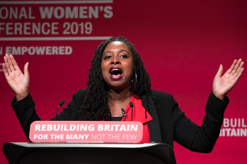 Dawn Butler MP during a speech at Labour Women's Conference in the Telford International Centre. (Photo by Aaron Chown/PA Images via Getty Images)
