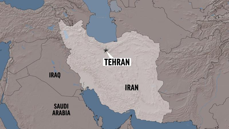 IRAN shaded relief map highlighted with TEHRAN (capital) locator, partial graphic