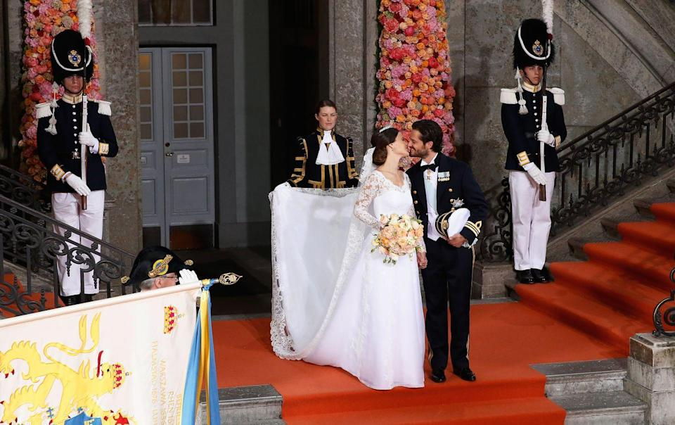 <p>Princess Sofia Hellqvist married Prince Carl Philip on June 13, 2015 at Slottskyrkan church in Stockholm. Princess Sofia's wedding dress, created by Swedish designer Ida Sjöstedt, an A-line silhouette, an open V-neck neckline, and an empire waist— including handmade lace in three shades of white.</p>