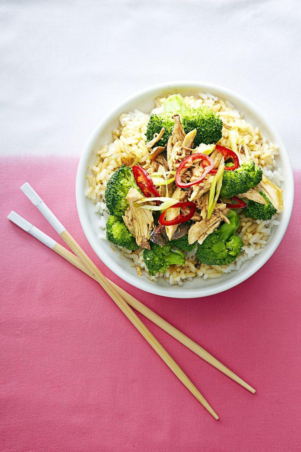 """<p>This is a healthy take on a classic Chinese dish. Over the course of five hours, the chicken marinates and stews in a sesame-soy sauce while absorbing the spices of sliced ginger and garlic. The broccoli and the rice do not cook in the same pot; however, so toward the end of the chicken's cook time, you're going to have to prepare that to complete the dish. But if you steam the veggies and pop the rice in your rice cooker, this shouldn't take much more effort.</p><p><em><a href=""""https://www.goodhousekeeping.com/food-recipes/a14890/slow-cooker-sesame-garlic-chicken-recipe-ghk1214/"""" rel=""""nofollow noopener"""" target=""""_blank"""" data-ylk=""""slk:Get the recipe from Good Housekeeping »"""" class=""""link rapid-noclick-resp"""">Get the recipe from Good Housekeeping »</a></em></p>"""