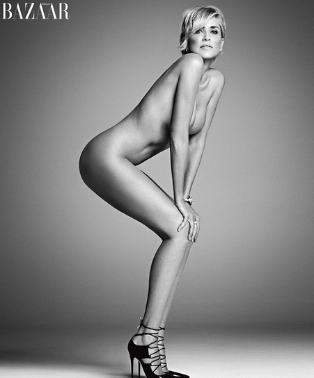 Sharon Stone posed nude for the September issue of Harper's Bazaar.