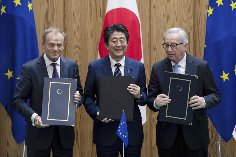 European Union, Japan sign major free trade deal, denounce rising protectionism