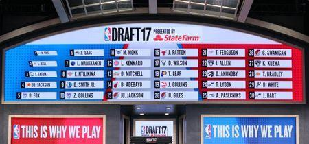 Jun 22, 2017; Brooklyn, NY, USA; A general view of a video board displaying all thirty first round selections in the 2017 NBA Draft at Barclays Center. Mandatory Credit: Brad Penner-USA TODAY Sports