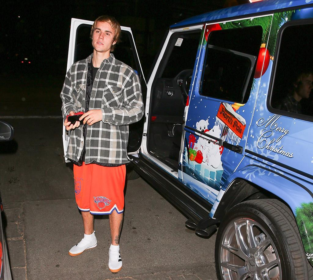 <p>Someone is <em>really</em> in the holiday spirit! Bieber showed off his Mercedes-Benz G-Class, which is festive to say the least. We wonder what the singer wants for Christmas? Santa already brought him Selena Gomez so he's probably good. (Photo: BACKGRID)<br /></p>