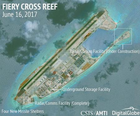 FILE PHOTO: Construction shown on Fiery Cross Reef in the Spratly Islands the disputed South China Sea