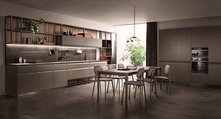 Conceived by designer Vittore Niolu for Scavolini, the new Formalia system rethinks kitchen storage for our evolving lives. Metal drawers and cabinets afford ease of use, with a streamlined silhouette and wide integrated pulls. Open shelving, meanwhile, keeps treasured pieces on display and everyday items at arm's reach, with a modular construction to meet the needs of any space. scavoliniusa.com