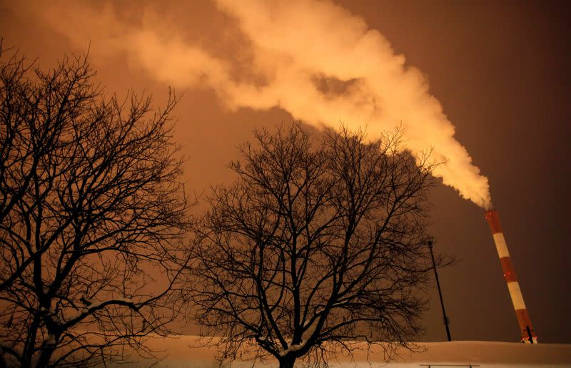 FILE PHOTO: Steam and other emissions rise from a power station in Belgrade