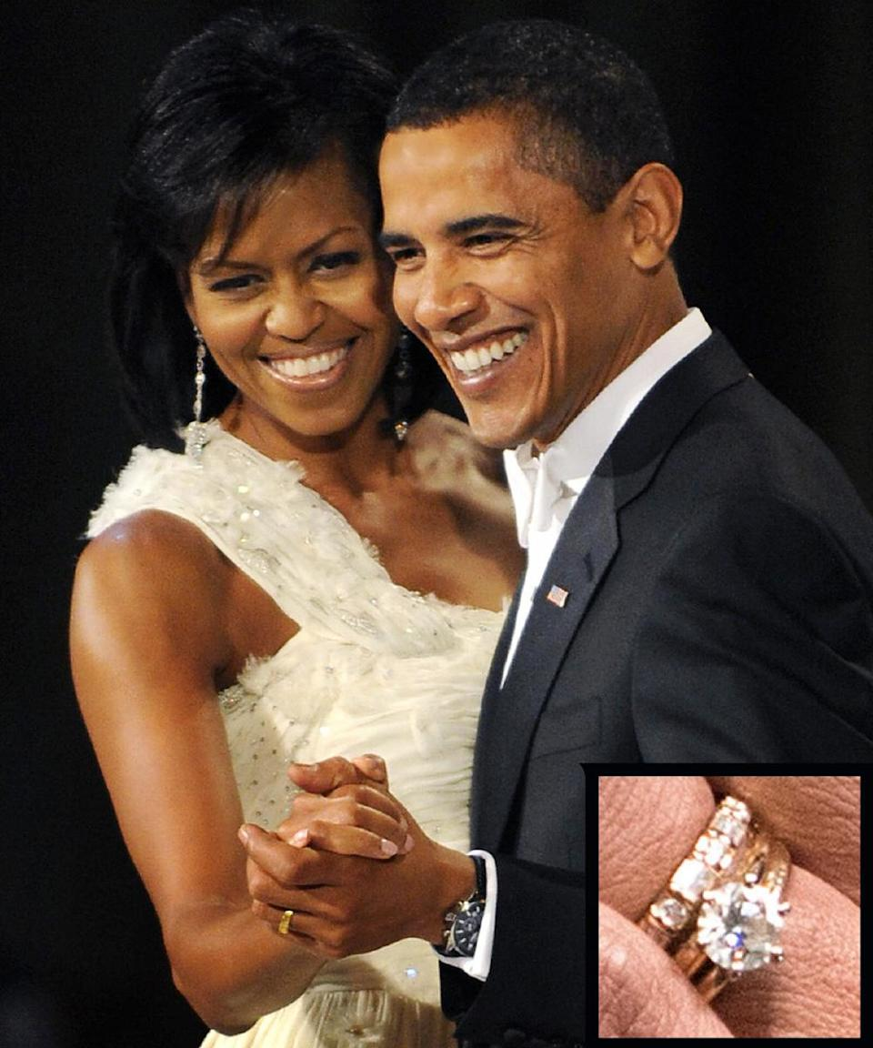 <p>The president proposed to Michelle Obama over a candlelit dinner with a beautiful round-cut diamond ring. The couple have have been married since 1992.</p>
